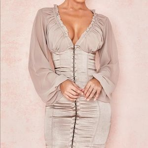 HOUSE OF CB 'Gia' Taupe Georgette Bustier Dress M